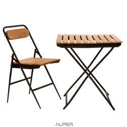 میز و صندلی تاشو صفحه چوب ترموود