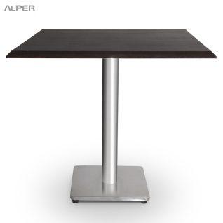 میز رستوران و تالار و کافی شاپ - میز ناهارخوری - میز نهارخوری - میز غذاخوری - میز مربع پایه چدنی صفحه وکیوم صبا PND-502CW - dining table