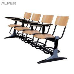 صندلی دانشجویی چهار نفره دسته دار با سبد - صندلی دانشجویی چهارنفره - صندلی دانش آموزی چهارنفره - صندلی دانشجویی - صندلی تحصیلی - صندلی آموزشی - صندلی محصلی - صندلی دانشگاهی - صندلی آلپر - Alper