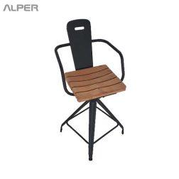 صندلی دسته دار - صندلی یوفو دسته دار - صندلی فلزی با نشیمن ترمووود - صندلی یوفو - صندلی فلزی - صندلی - خرید اینترنتی میز و صندلی - آلپر - Alper - chair - coffeeshop chair - outdoor chair