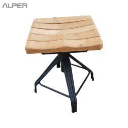 چهارپایه یوفو با نشیمن چوبی - چهارپایه - چهار پایه - چهارپایه ها - چهار پایه چوبی - صندلی فلزی - صندلی - خرید اینترنتی میز و صندلی - آلپر - Alper - stool - coffeeshop stool - outdoor chair