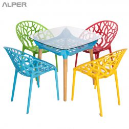 میز فضای باز - outdoor table - میز کافی شاپی - میز شیشه ای - میز پایه چوبی - میز صفحه شیشه ای - میز هتلی - میز رستورانی - میز کافی شاپی