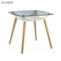 میز کافی شاپی - میز شیشه ای - میز پایه چوبی - میز صفحه شیشه ای - میز هتلی - میز رستورانی - میز کافی شاپی